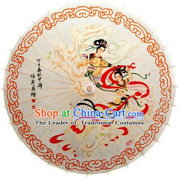 Handmade China Traditional Dance Wedding Umbrella Classical Painting Apsara Oil-paper Umbrella Stage Performance Props Umbrellas