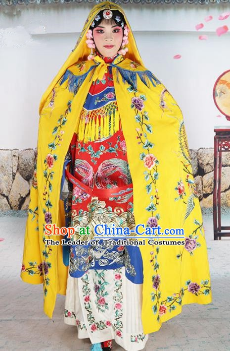 Chinese Beijing Opera Imperial Empress Costume Yellow Embroidered Cloak, China Peking Opera Actress Embroidery Mantle Clothing