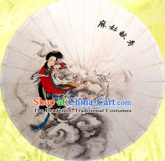 Handmade China Traditional Folk Dance Umbrella Painting Apsara Oil-paper Umbrella Stage Performance Props Umbrellas