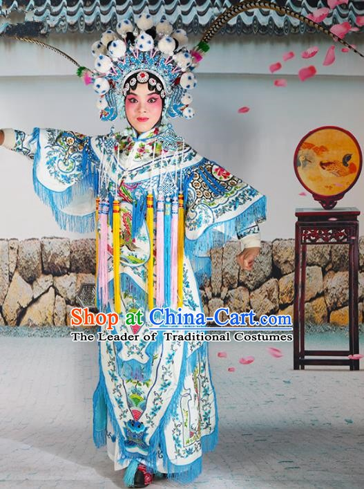 Chinese Beijing Opera Female General Embroidered White Costume, China Peking Opera Blues Embroidery Clothing