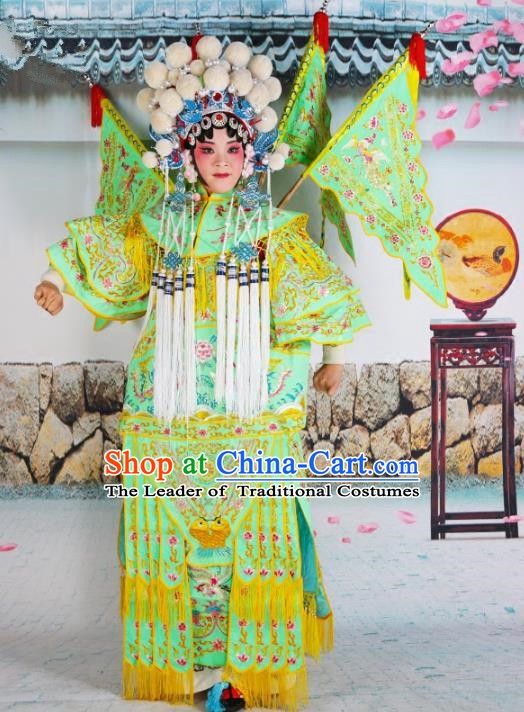 Chinese Beijing Opera Female General Embroidered Green Costume, China Peking Opera Blues Embroidery Clothing