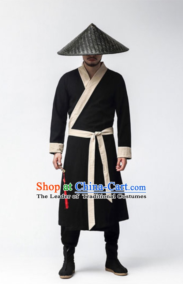 Ancient Chinese Fighter Costumes and Black Hat Complete Set
