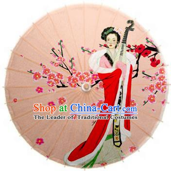 Handmade China Traditional Folk Dance Umbrella Stage Performance Props Umbrellas Painting Beauty Lute Oil-paper Umbrella