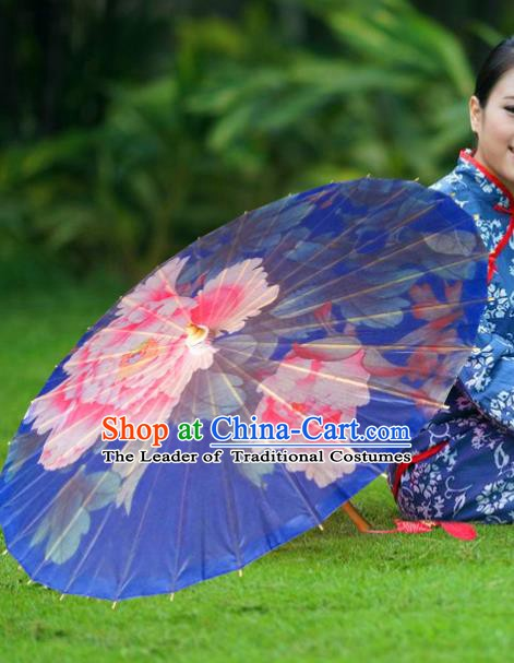 China Traditional Folk Dance Umbrella Hand Painting Peony Blue Oil-paper Umbrella Stage Performance Props Umbrellas