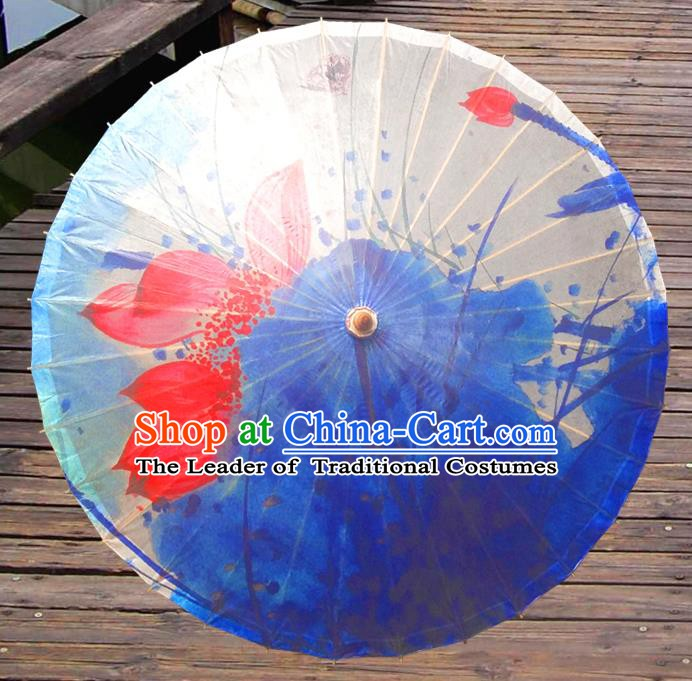 China Traditional Folk Dance Umbrella Hand Painting Lotus Blue Oil-paper Umbrella Stage Performance Props Umbrellas