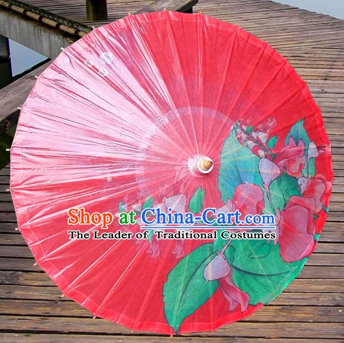 China Traditional Folk Dance Umbrella Hand Painting Red Oil-paper Umbrella Stage Performance Props Umbrellas