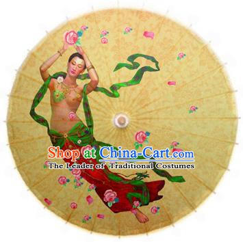 China Traditional Folk Dance Umbrella Hand Painting Flying Fairy Oil-paper Umbrella Stage Performance Props Umbrellas