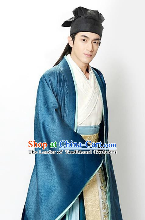 Traditional Chinese Ancient Three Kingdoms Dynasty General Zhao Zilong Embroidered Costume for Men