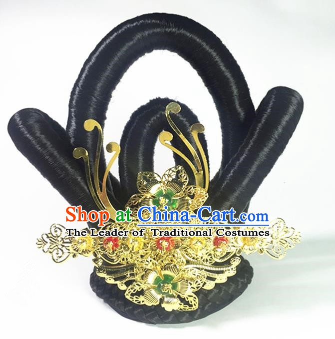 China Handmade Classical Stage Performance Dunhuang Flying Aapsaras Wig and Hair Accessories