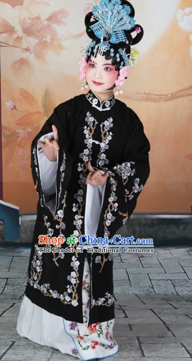 Chinese Beijing Opera Actress Princess Embroidered Black Costume, China Peking Opera Diva Embroidery Wintersweet Clothing