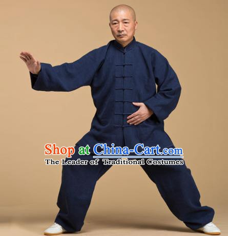 Top Grade Chinese Kung Fu Deep Blue Costume, China Martial Arts Tai Ji Training Uniform Gongfu Wushu Clothing for Men