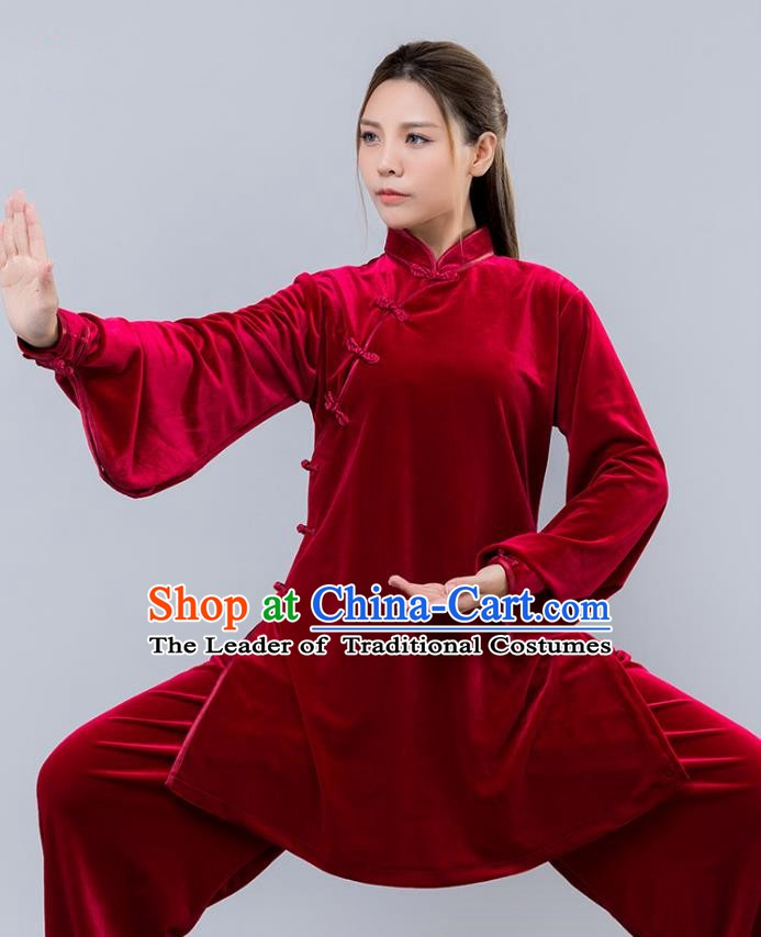 Top Grade Chinese Kung Fu Red Velvet Costume China Martial Arts Training Uniform Tai Ji Wushu Clothing for Women