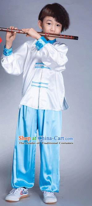 Top Grade Chinese Kung Fu Costume Tai Ji Training Uniform, China Martial Arts Gongfu Blue Clothing for Kids