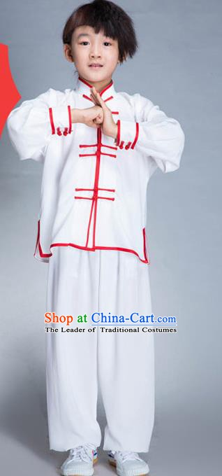 Top Grade Chinese Kung Fu Costume Tai Ji Training Uniform, China Martial Arts Gongfu White Clothing for Kids