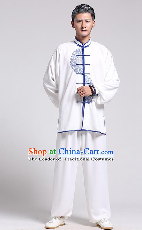 Top Grade Chinese Kung Fu Costume Tai Ji Training Blue and White Porcelain Uniform, China Martial Arts Gongfu Clothing for Men