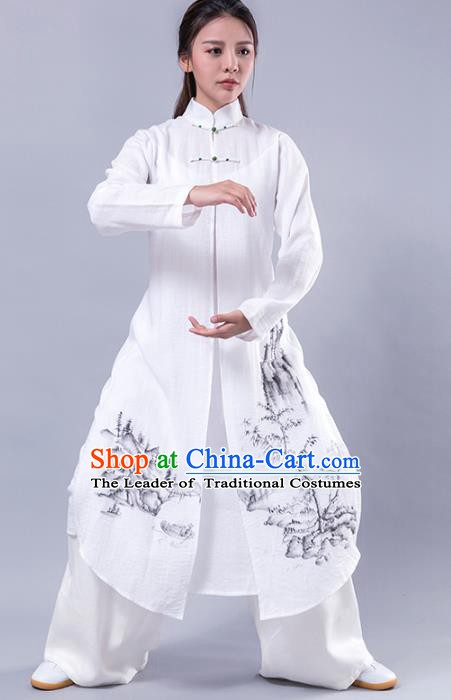 Top Grade Chinese Kung Fu Costume Martial Arts Uniform, China Tai Ji Wushu Plated Buttons White Robe Clothing for Women