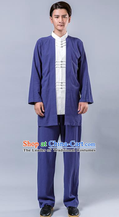 Top Grade Chinese Kung Fu Costume Tai Ji Training Blue Linen Uniform, China Martial Arts Tang Suit Gongfu Clothing for Men