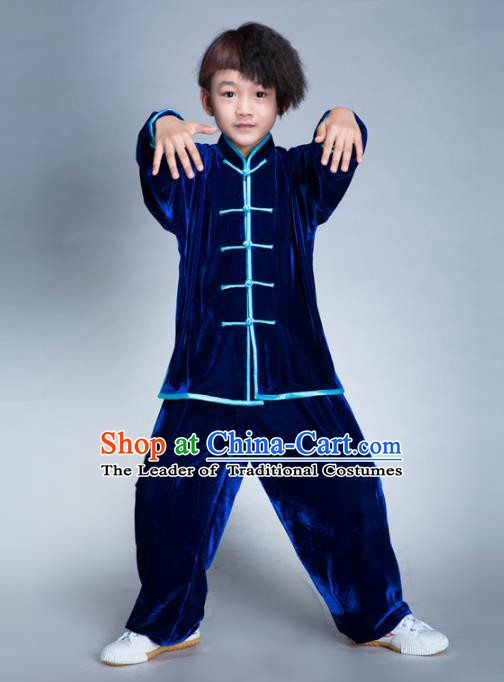 Top Grade Chinese Kung Fu Costume Tai Ji Training Uniform, China Martial Arts Gongfu Blue Velvet Clothing for Kids