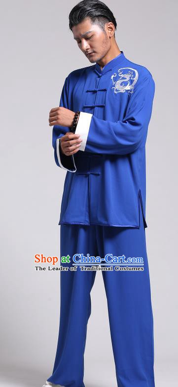 Top Grade Chinese Kung Fu Costume Tai Ji Training Printing Dragon Blue Uniform, China Martial Arts Gongfu Clothing for Men