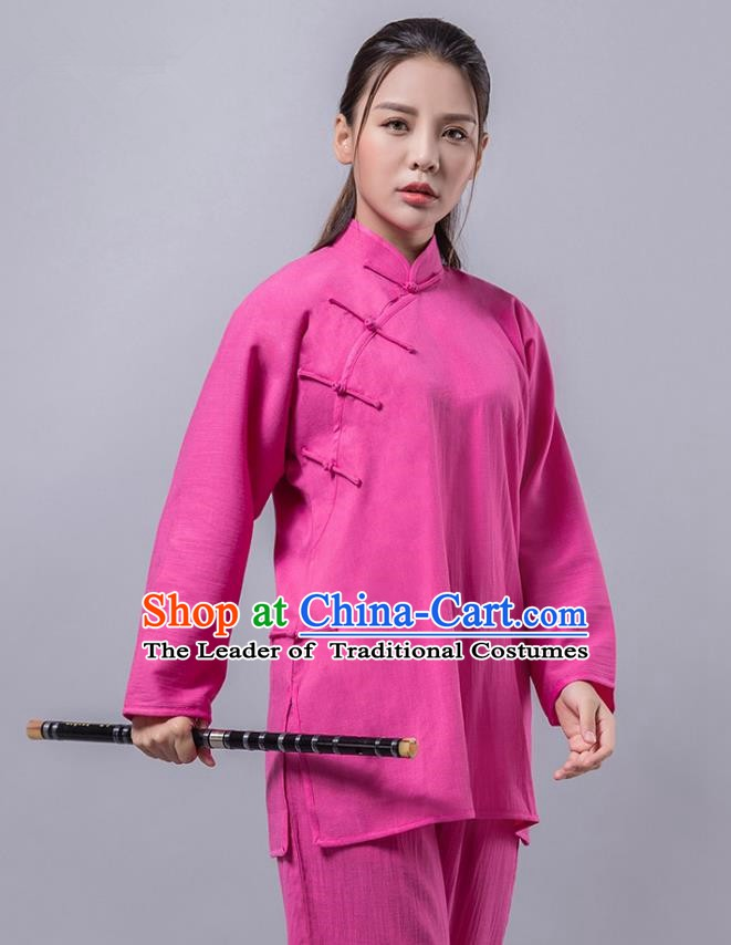 Top Grade Chinese Kung Fu Costume Martial Arts Plated Buttons Rosy Uniform, China Tai Ji Wushu Clothing for Women