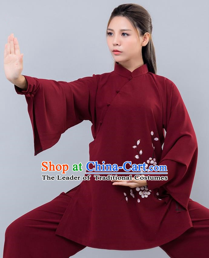 Top Grade Chinese Kung Fu Costume Martial Arts Ink Painting Wintersweet Uniform, China Tai Ji Wushu Clothing for Women