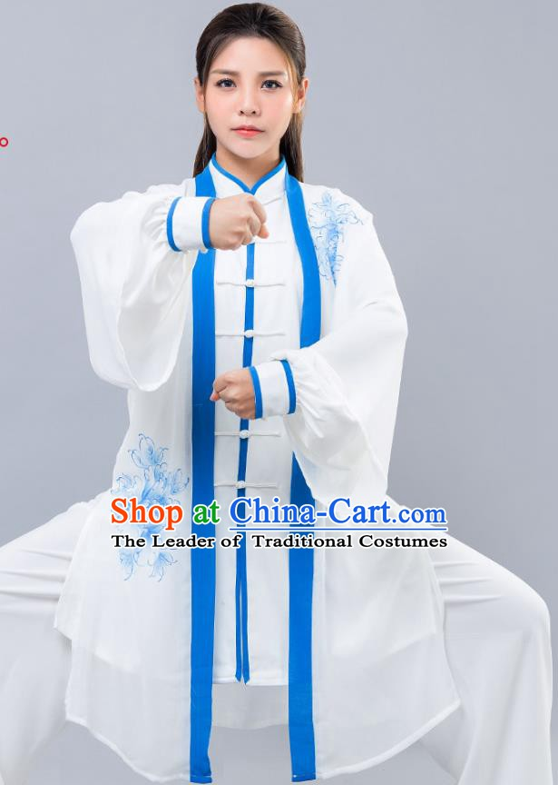 Top Grade Chinese Kung Fu Costume Martial Arts Ink Painting Peony Uniform, China Tai Ji Wushu Clothing for Women