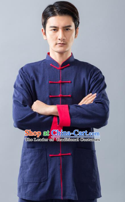 Top Grade Chinese Kung Fu Blue Linen Costume Tai Ji Training Uniform, China Martial Arts Tang Suit Gongfu Clothing for Men