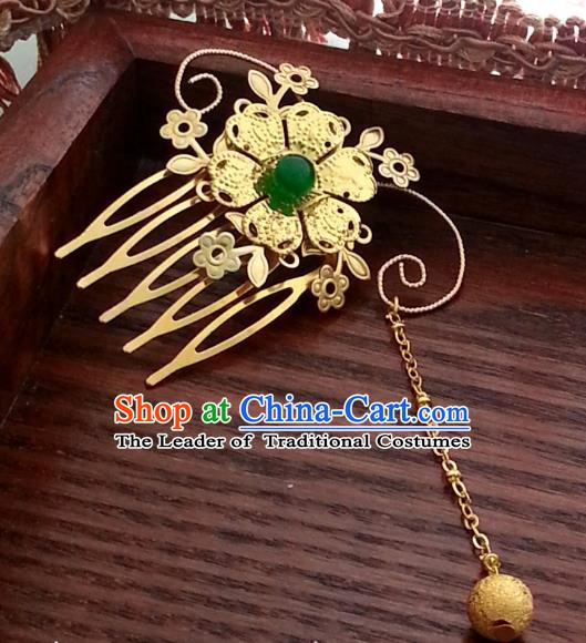 Traditional Handmade Chinese Ancient Classical Hair Accessories Golden Hair Comb Hairpins for Women