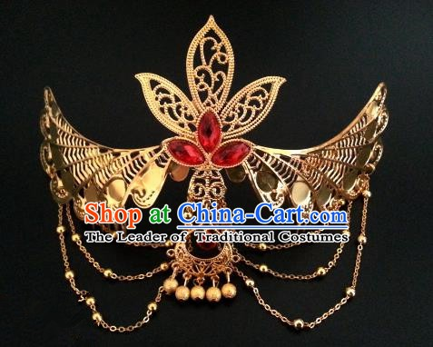 Traditional Handmade Chinese Ancient Classical Hair Accessories Hairpins Golden Phoenix Coronet for Women