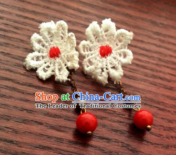 Traditional Handmade Chinese Ancient Princess Hanfu Lace Eardrop Classical Earrings for Women