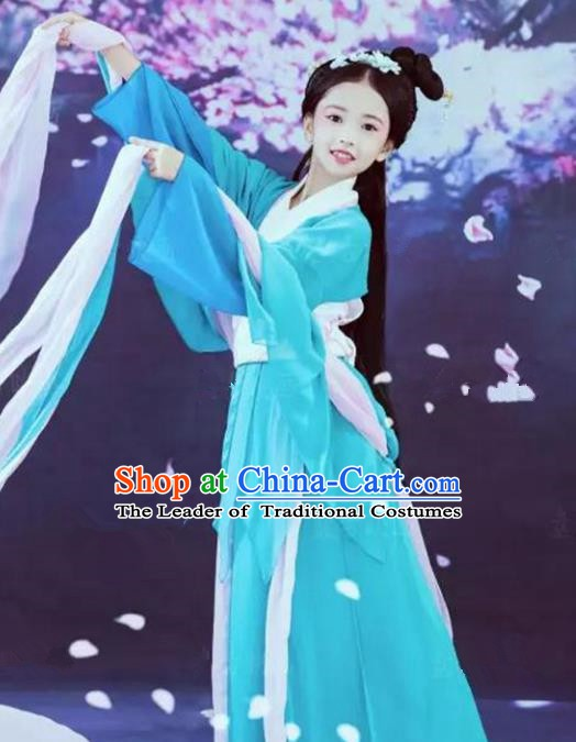 Asian Chinese Ancient Fairy Costume Tang Dynasty Palace Princess Clothing for Kids
