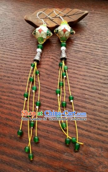 Traditional Chinese Handmade Cloisonn Eardrop Ancient Palace Lady Princess Hanfu Classical Earrings for Women