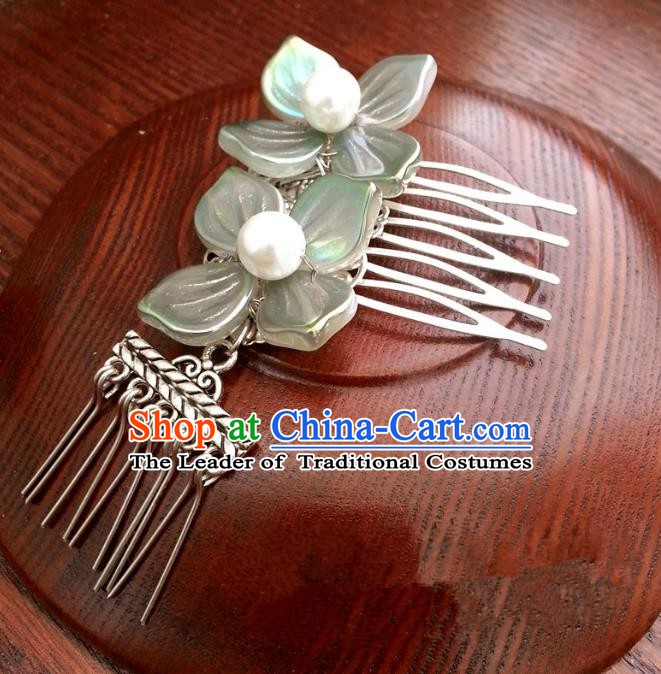 Traditional Chinese Handmade Classical Hair Accessories Flowers Hair Comb Ancient Hanfu Hairpins for Women