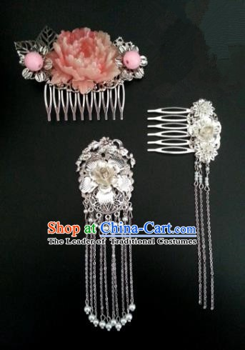 Traditional Chinese Handmade Classical Hair Accessories Tassel Hair Comb Ancient Hanfu Hairpins for Women