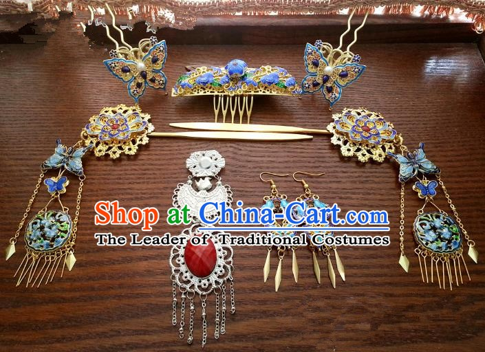 Traditional Handmade Chinese Classical Hair Accessories Ancient Princess Cloisonn Hairpins Phoenix Coronet Complete Set for Women