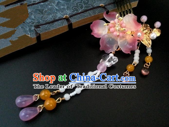 Handmade Traditional Chinese Classical Hair Accessories Ancient Bride Hanfu Tassel Hair Comb Hairpins for Women