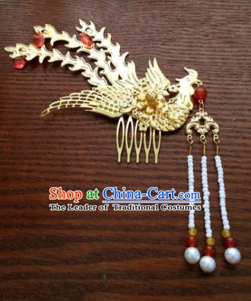 Traditional Handmade Chinese Classical Hair Accessories Ancient Princess Golden Phoenix Hairpins Hair Comb for Women