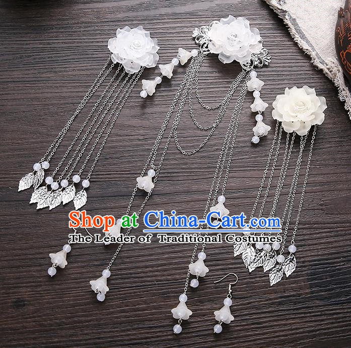 Handmade Asian Chinese Classical Hair Accessories Ancient White Flower Hair Stick Hairpins for Women