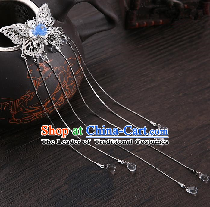 Handmade Asian Chinese Classical Hair Accessories Blue Butterfly Hair Stick Ancient Hanfu Hairpins for Women