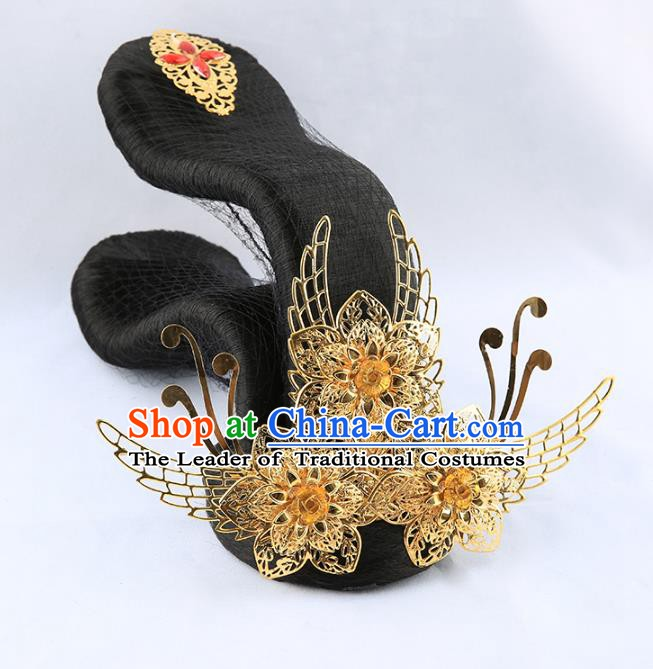 Asian Chinese Handmade Palace Lady Classical Hair Accessories Wig and Phoenix Coronet Tassel Hairpins for Women