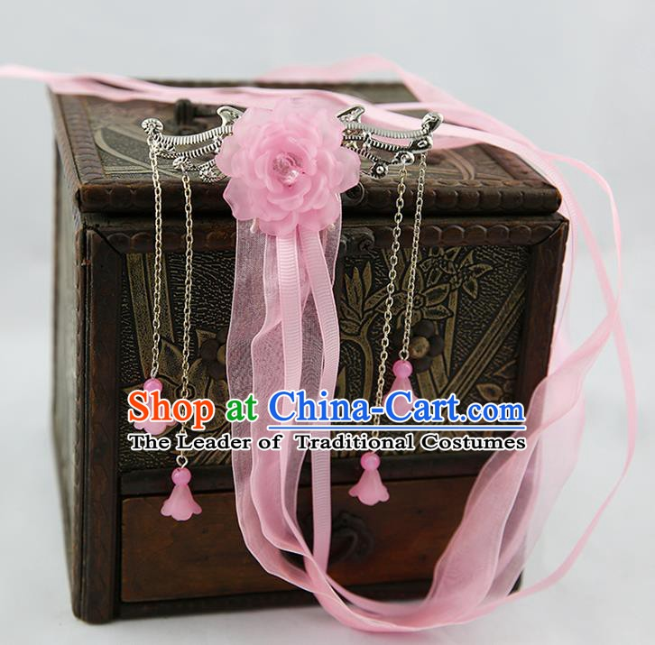 Asian Chinese Handmade Palace Lady Classical Hair Accessories Pink Silk Ribbon Hairpins Headwear for Women
