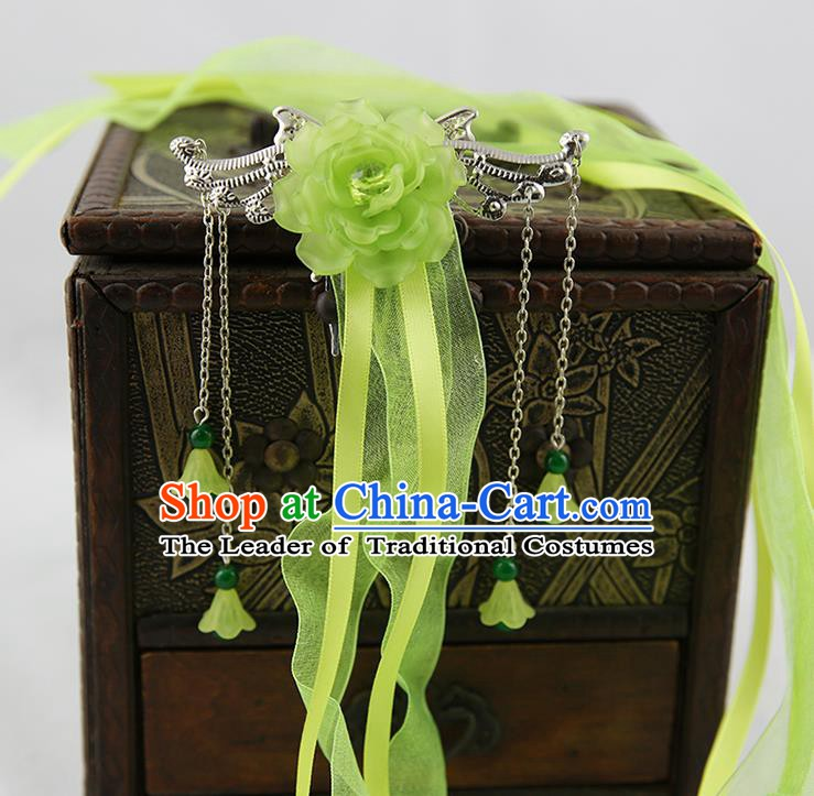 Asian Chinese Handmade Palace Lady Classical Hair Accessories Green Silk Ribbon Hairpins Headwear for Women