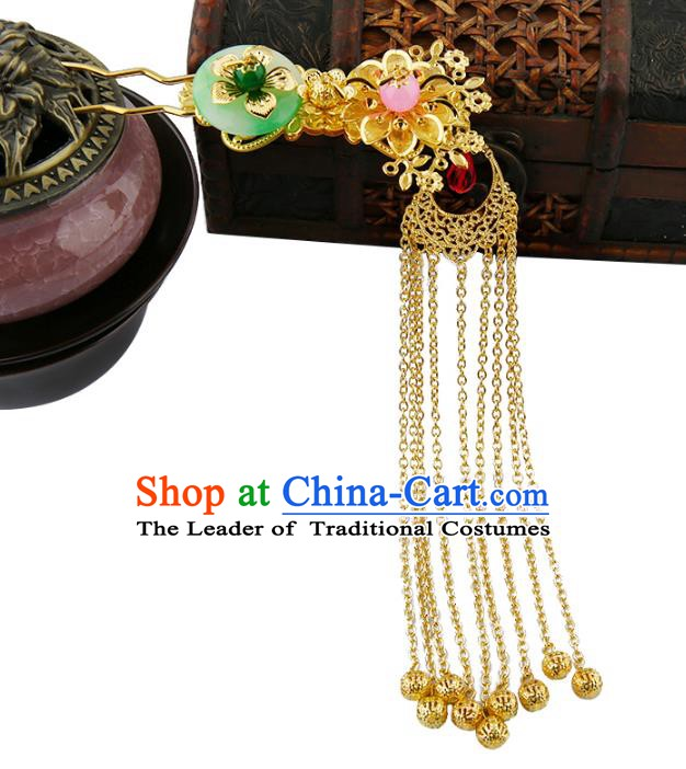 Asian Chinese Handmade Palace Lady Classical Hair Accessories Hanfu Tassel Hairpins Headwear for Women