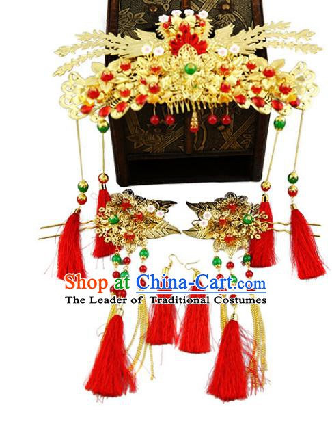 Asian Chinese Handmade Palace Lady Classical Hair Accessories Xiuhe Suit Phoenix Coronet Hairpins Headwear for Women