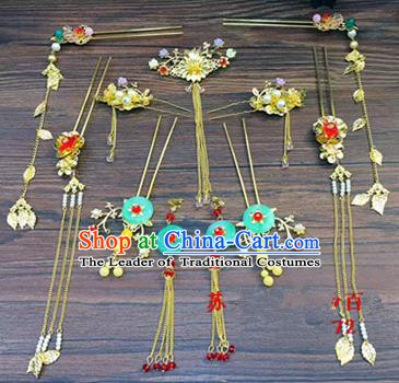 Asian Chinese Handmade Palace Lady Classical Hair Accessories Phoenix Coronet Hairpins Headwear for Women