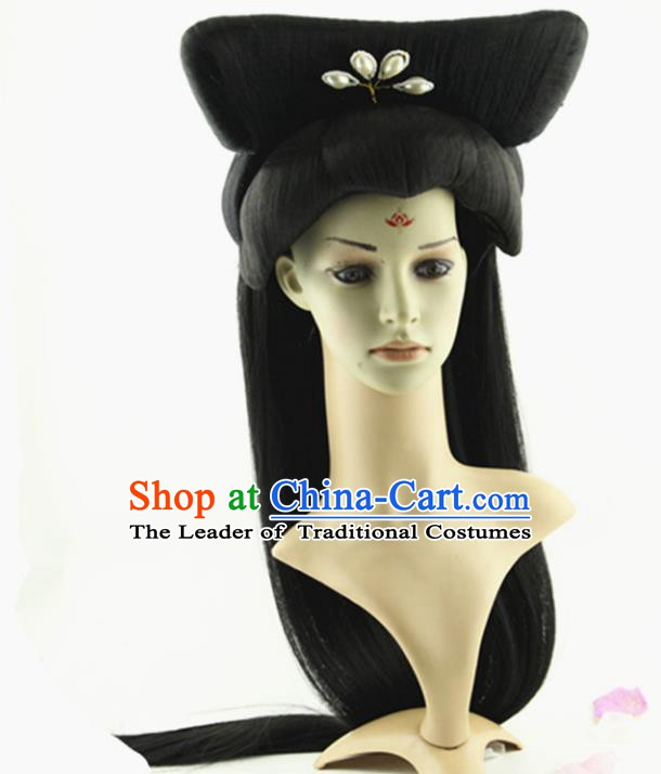 Asian Chinese Handmade Classical Hair Accessories Palace Lady Fairy Wig Sheath and Hairpins for Women