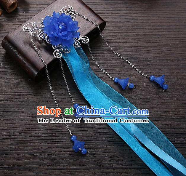 Handmade Asian Chinese Classical Hair Accessories Blue Ribbon Butterfly Hairpins Hanfu Hair Stick for Women