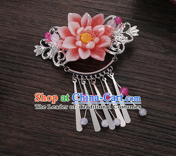Asian Chinese Handmade Classical Hair Accessories Pink Flower Tassel Hair Comb Hairpins for Women