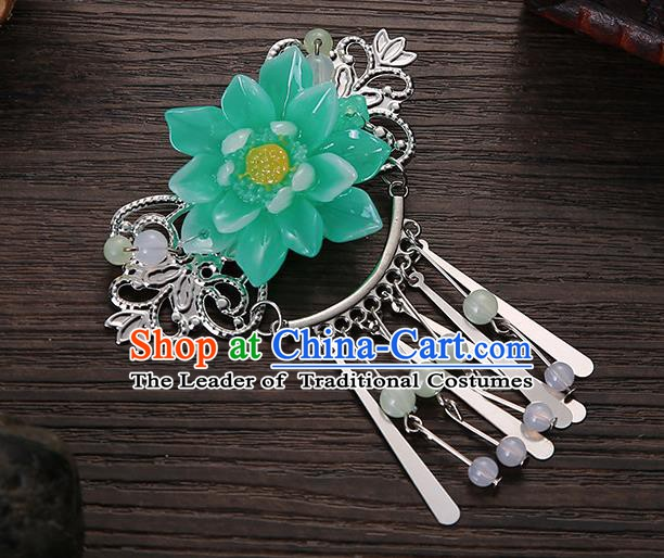 Asian Chinese Handmade Classical Hair Accessories Green Flower Tassel Hair Comb Hairpins for Women