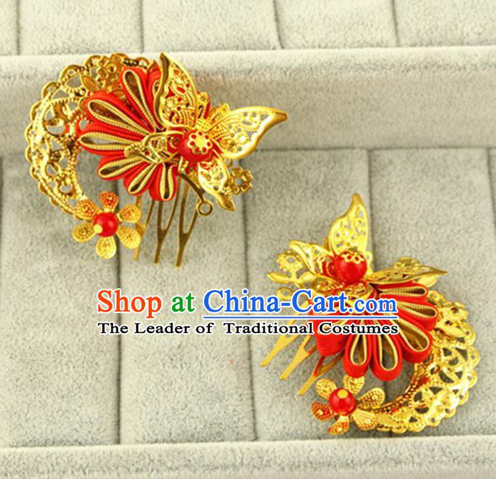 Asian Chinese Handmade Classical Hair Accessories Princess Hairpins Red Butterfly Hair Comb for Women